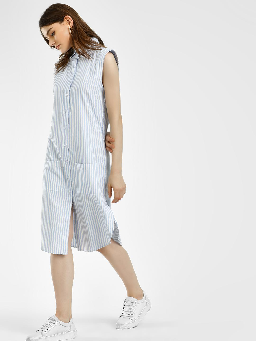 Spring Break Blue Shimmer Stripe Shirt Dress 1