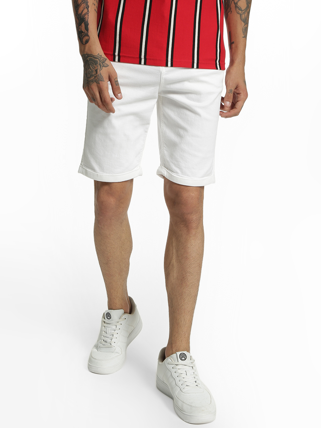 Blue Saint White Basic Slim Fit Shorts 1