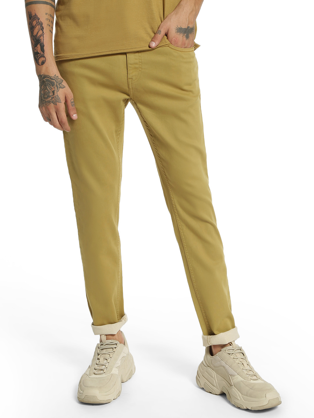 Blue Saint Brown Basic Knitted Slim Trousers 1