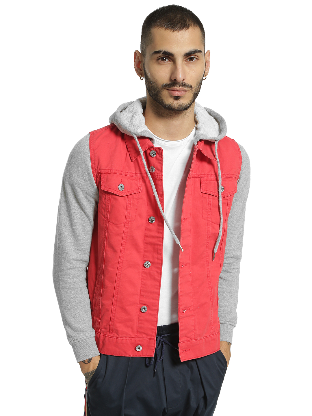 Blue Saint Red Jersey Sleeve Hooded Denim Jacket 1