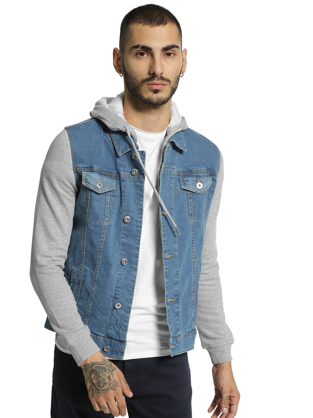 Blue Saint Blue Jersey Sleeve Hooded Denim Jacket 1