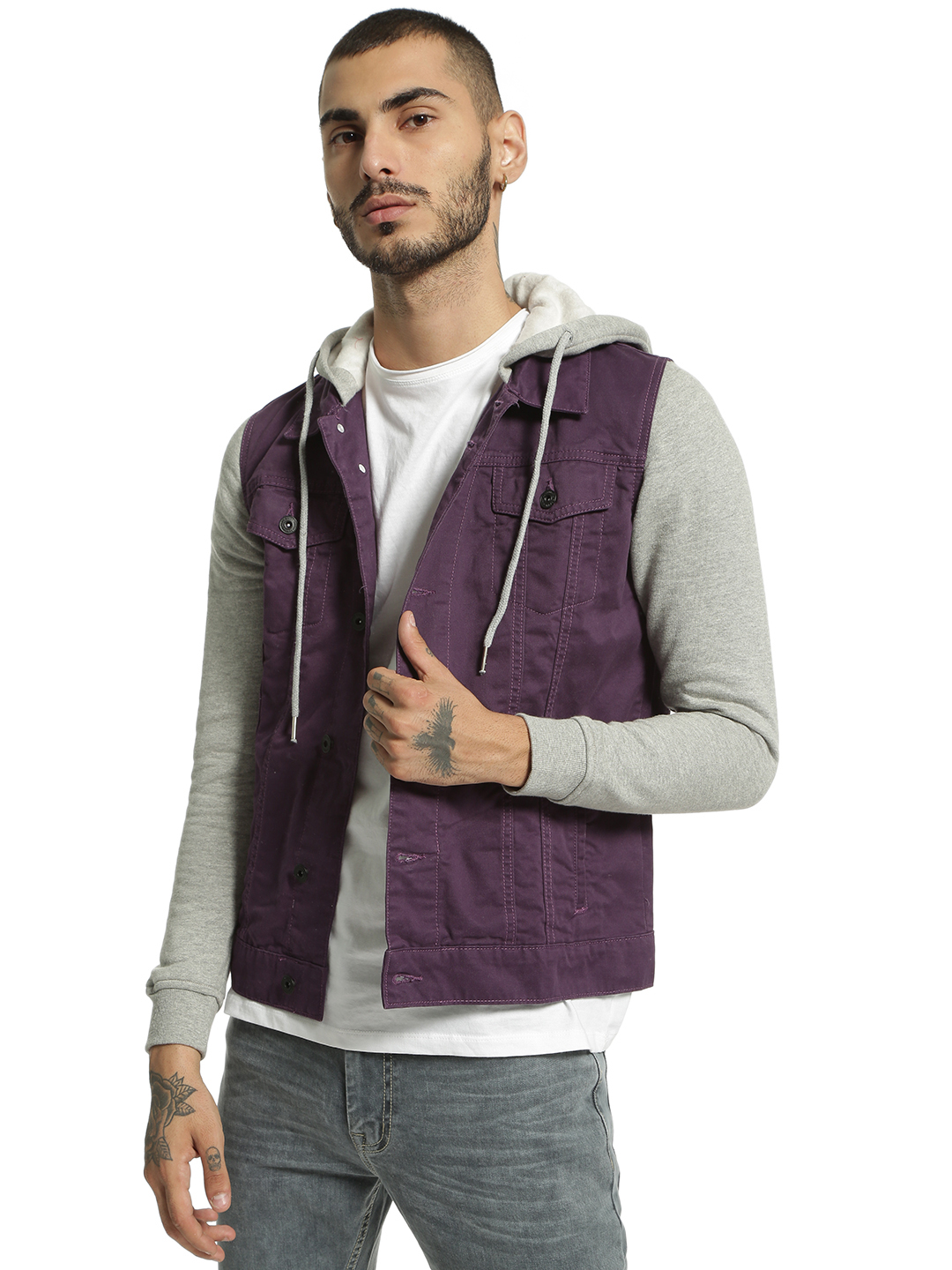 Blue Saint Purple Colour Block Denim Hooded Jacket 1