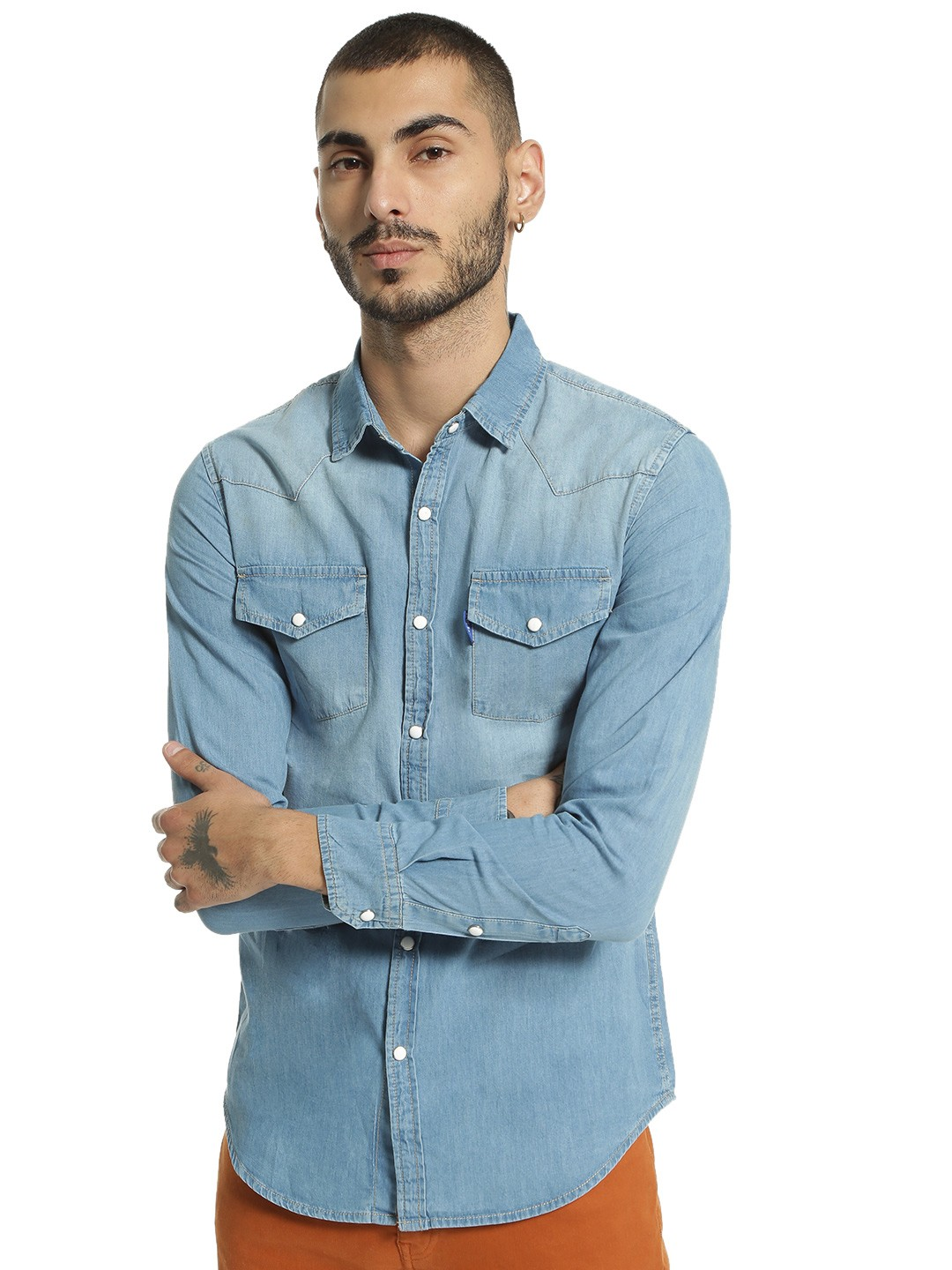 Blue Saint Blue Light Wash Denim Shirt 1