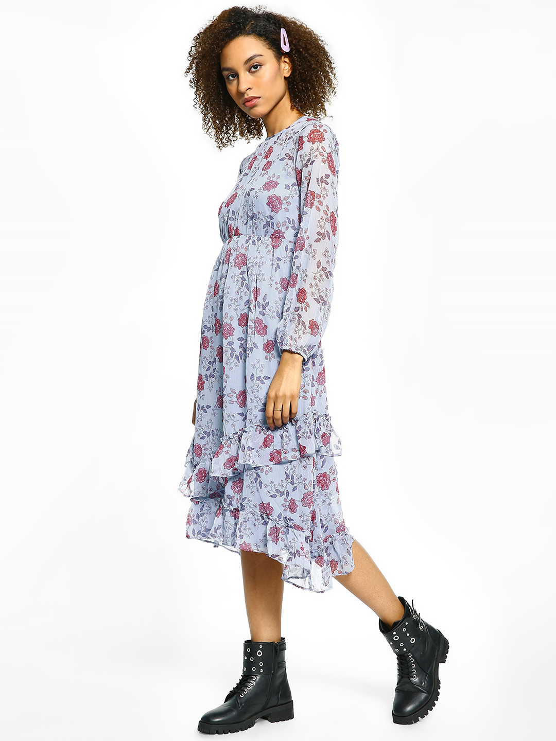 Cover Story Blue Floral Print Ruffle Midi Dress 1