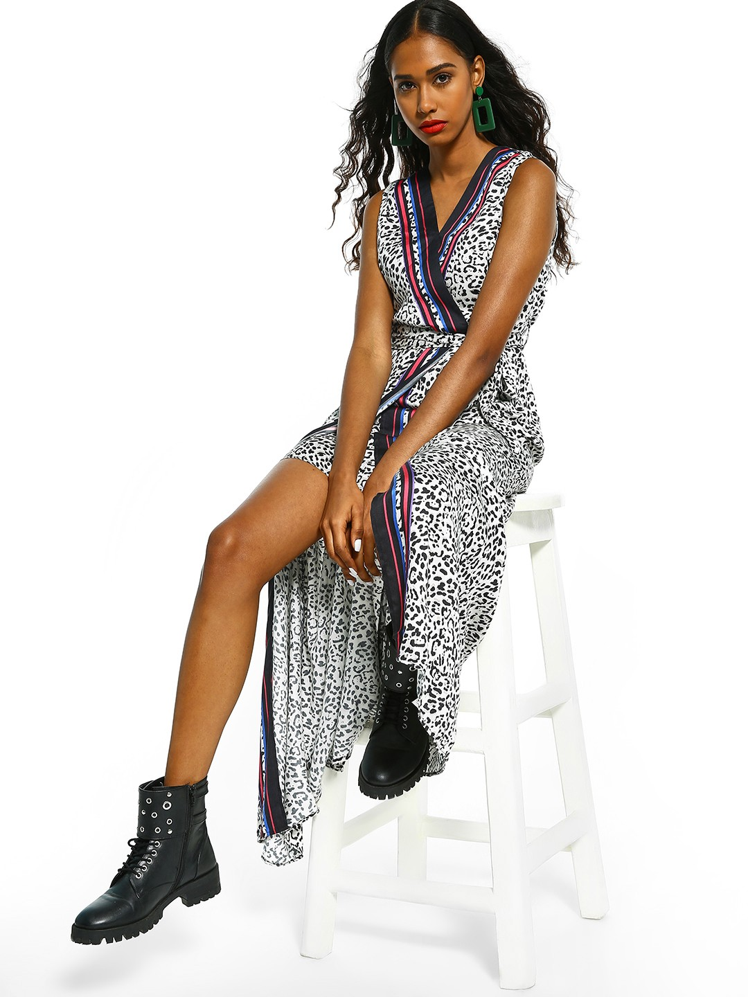 Cover Story Off White Leopard Print Wrap Maxi Dress 1