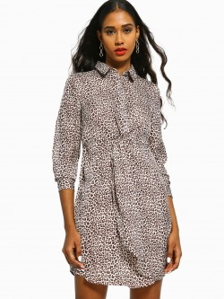 Cover Story Leopard Print Shirt Dress