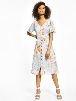 Cover Story Floral Print Midi Dresses