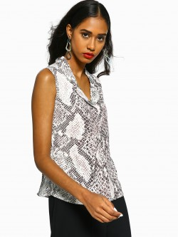 Cover Story Snakeskin Cuban Collar Sleeveless Shirt