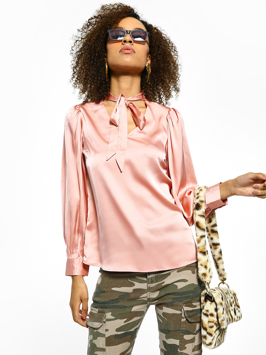 Cover Story Pink Pussy Bow Neck Satin Blouse 1