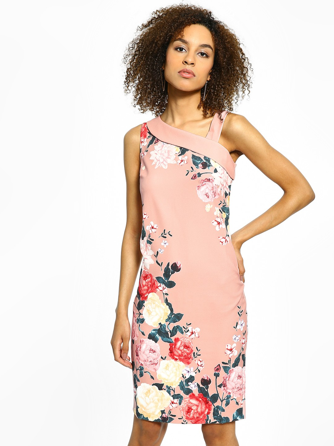 Cover Story Pink Floral Print Bodycon Dress 1