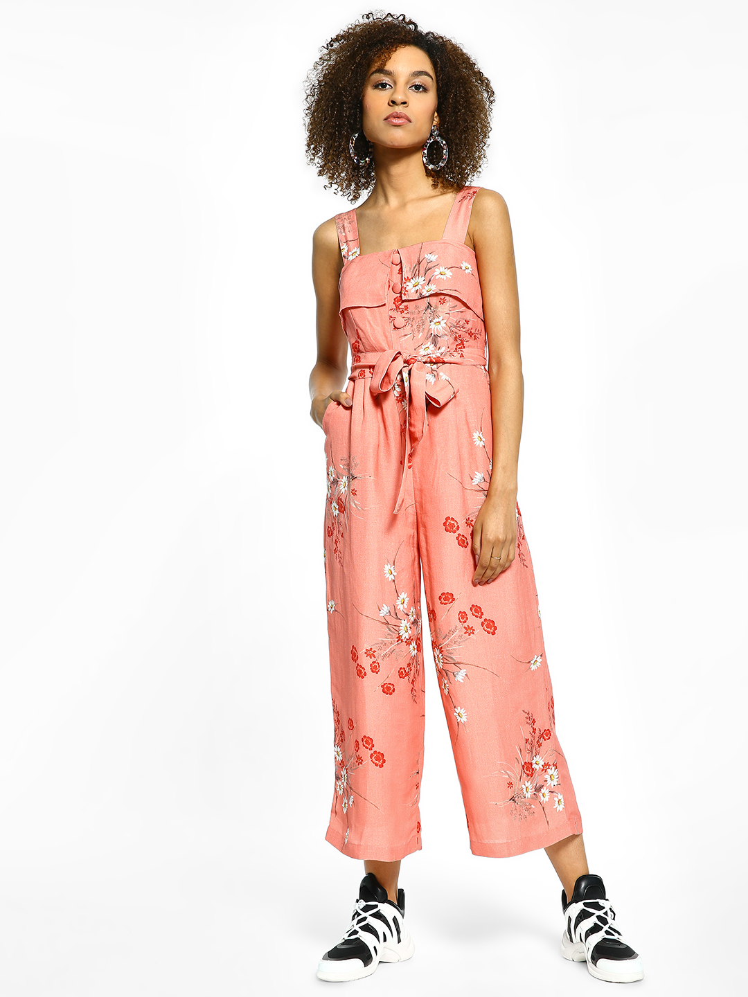 Cover Story Pink Floral Print Sleeveless Cropped Jumpsuit 1