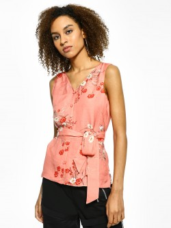 Cover Story Floral Print Sleeveless Blouse