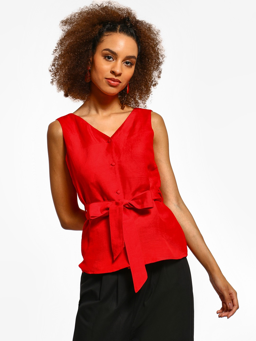 Cover Story Red Button-Up Belted Sleeveless Blouse 1