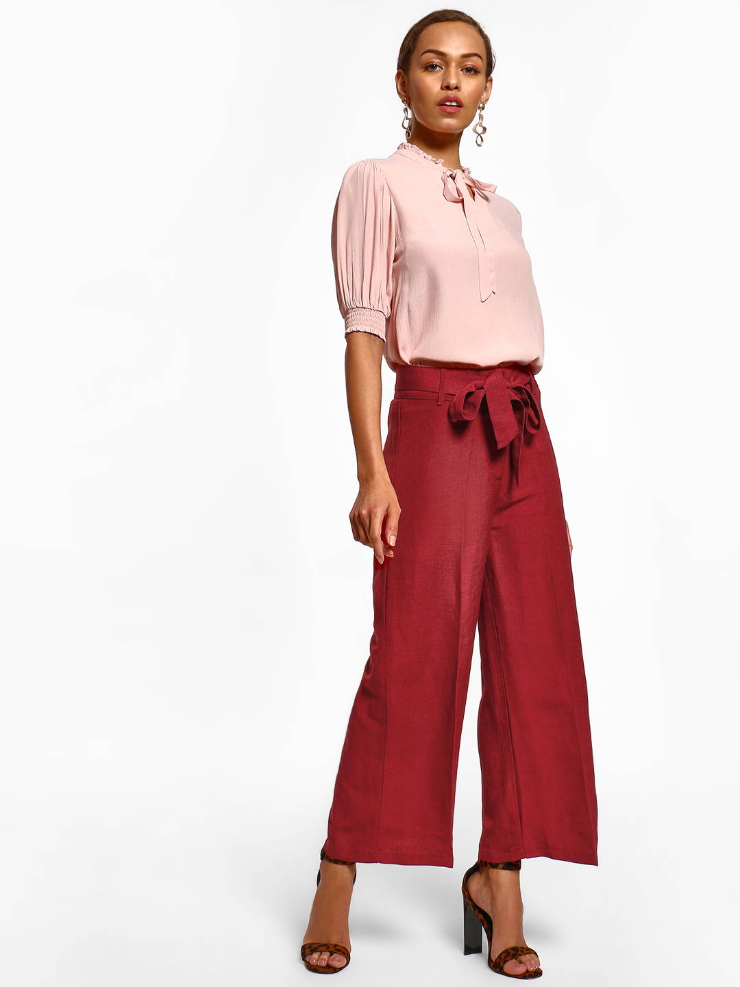 Cover Story Maroon Tie-Knot Flared Trousers 1