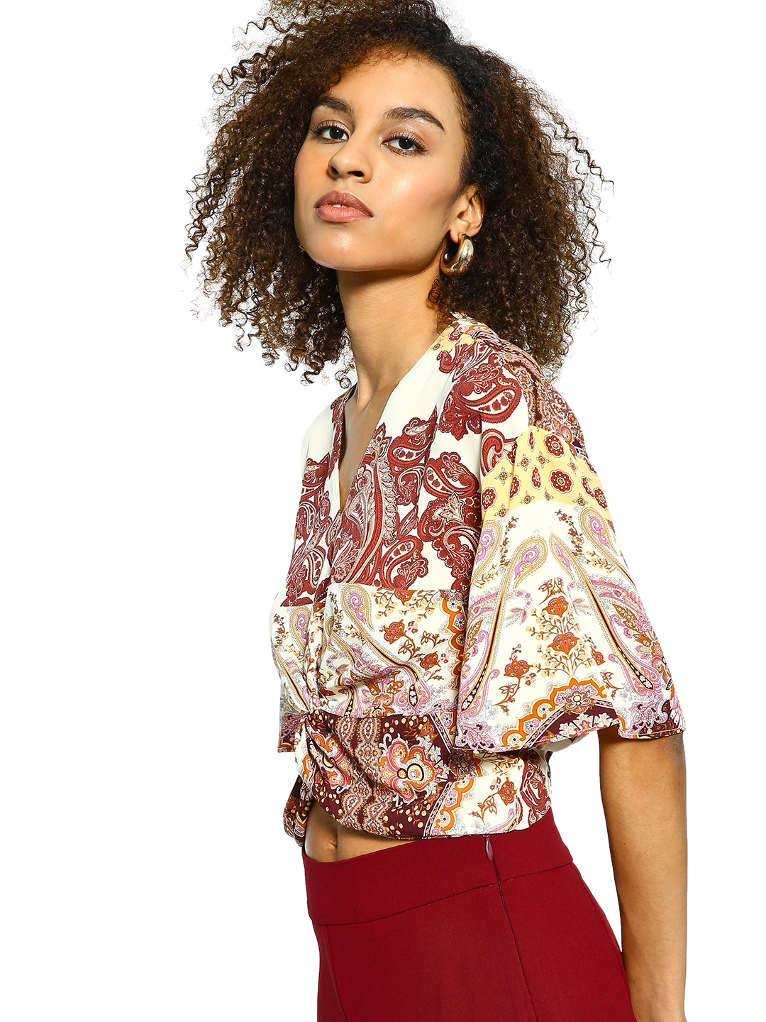 Cover Story Multi Paisley Print Twisted Crop Top 1