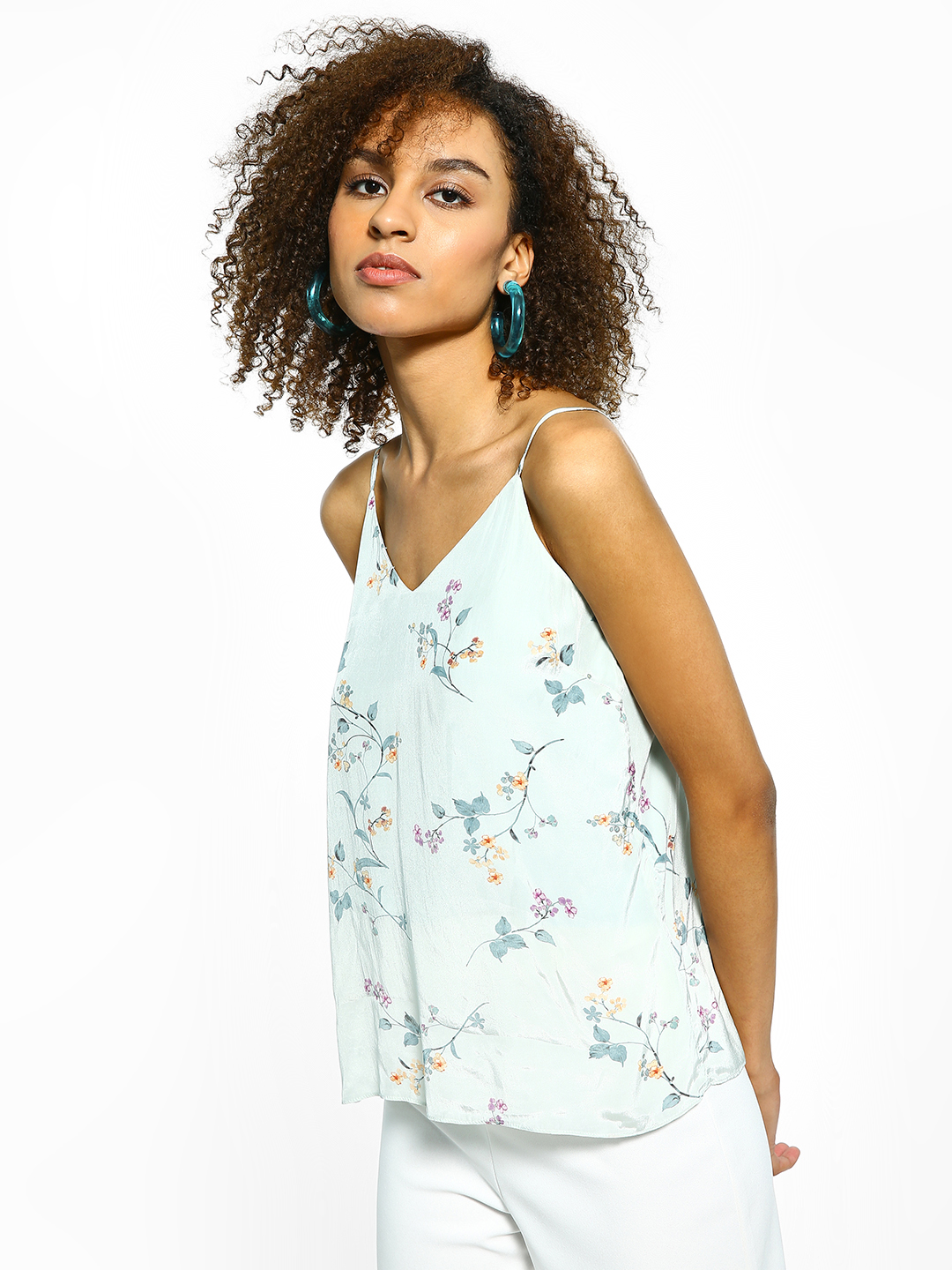 Cover Story Green Satin Floral Print Cami Top 1