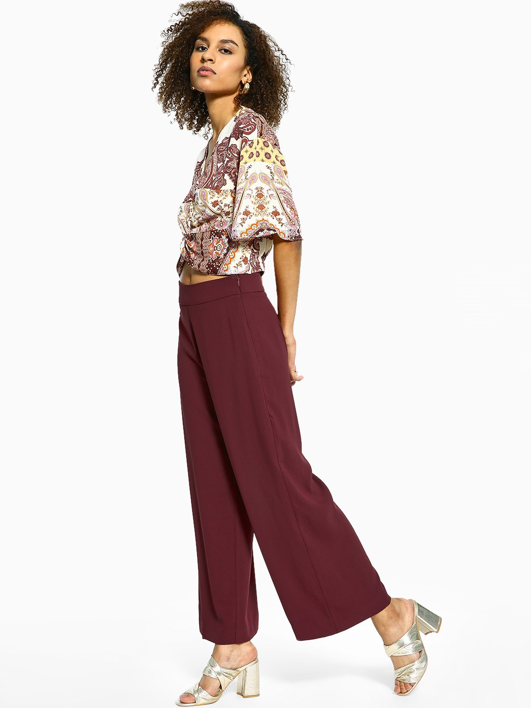 Cover Story Maroon Basic Flared Trousers 1