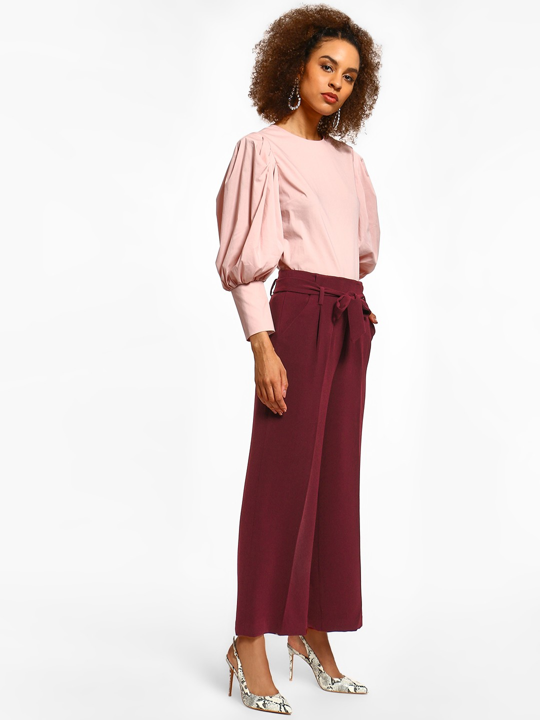Cover Story Maroon Linen Flared Tie-Knot Trousers 1