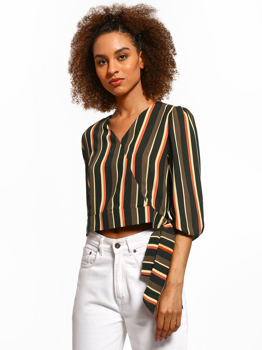 Cover Story Multi Vertical Stripe Side Knot Crop Top 1