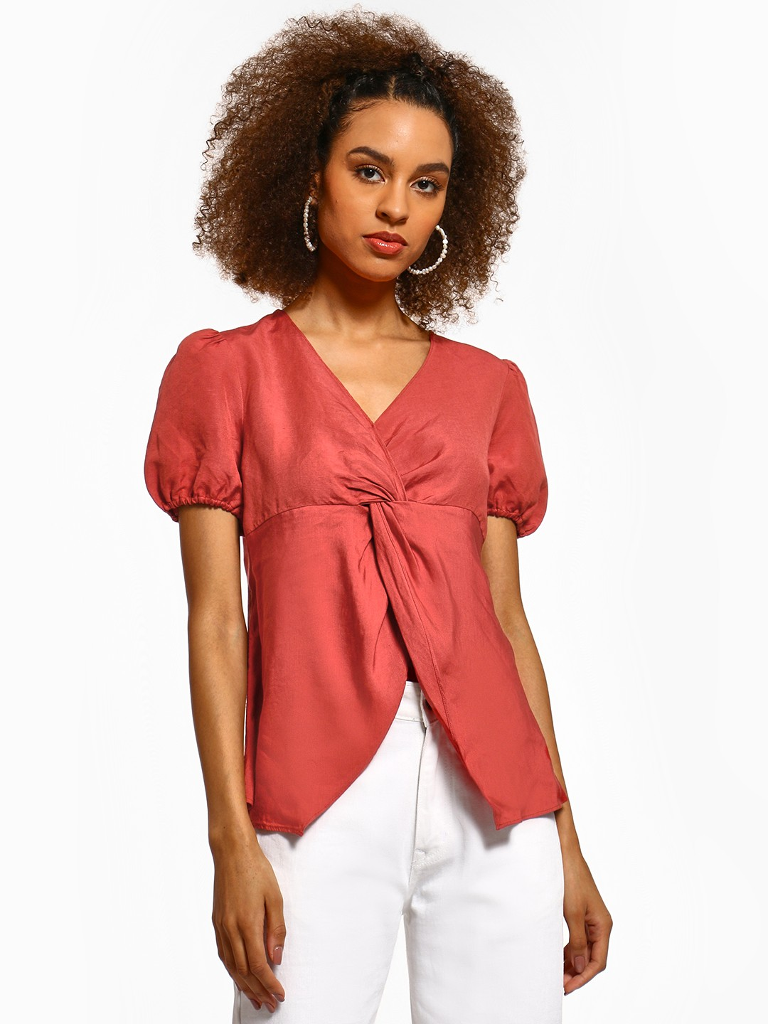 Cover Story Pink Twist Knot Front Blouse 1