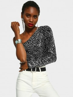 KOOVS Flocked Velvet One Shoulder Crop Top