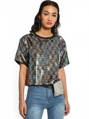 KOOVS Rainbow Sequin Crop T-Sh...