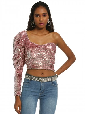 KOOVS One Shoulder Sequinned C...