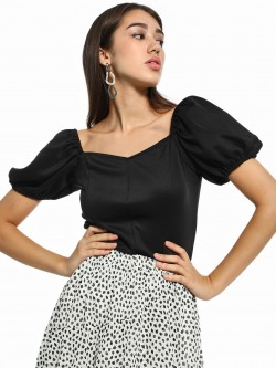 KOOVS Puff Sleeve Satin Top