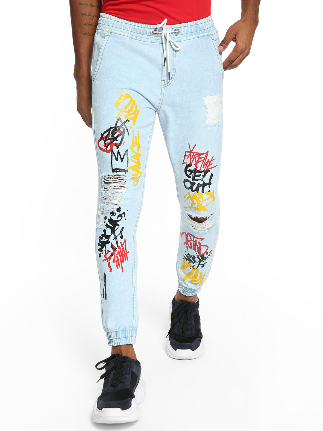 K Denim Light Blue KOOVS Scribble Graffiti Distressed Denim Joggers 1