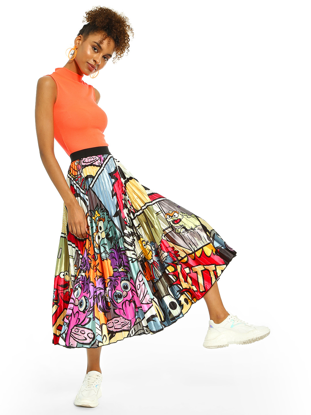 Origami Lily Multi Character Sticker Print Midi Skirt 1