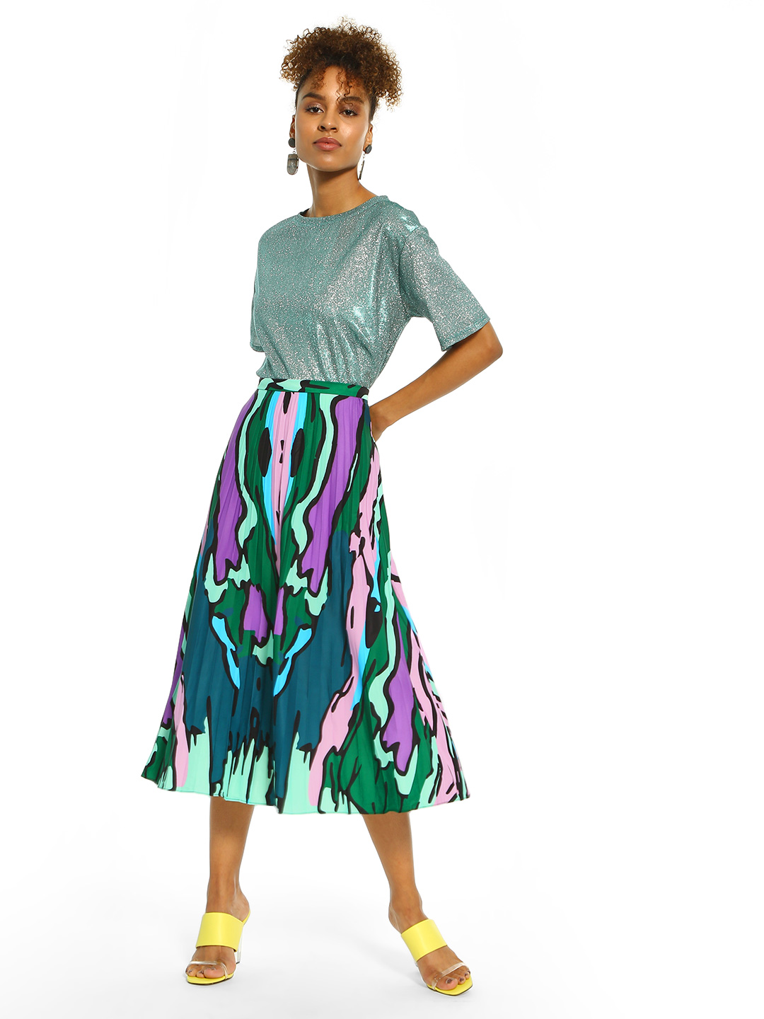 Origami Lily Multi Abstract Print Plisse Midi Skirt 1
