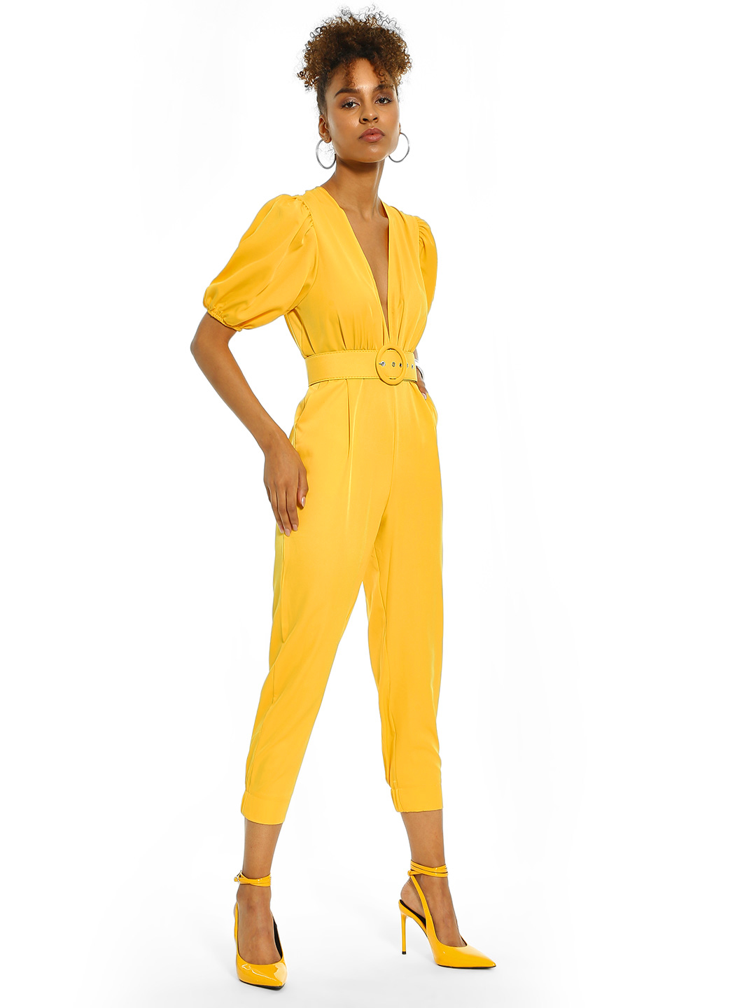 Origami Lily Yellow Plunge V-Neck Belted Jumpsuit 1