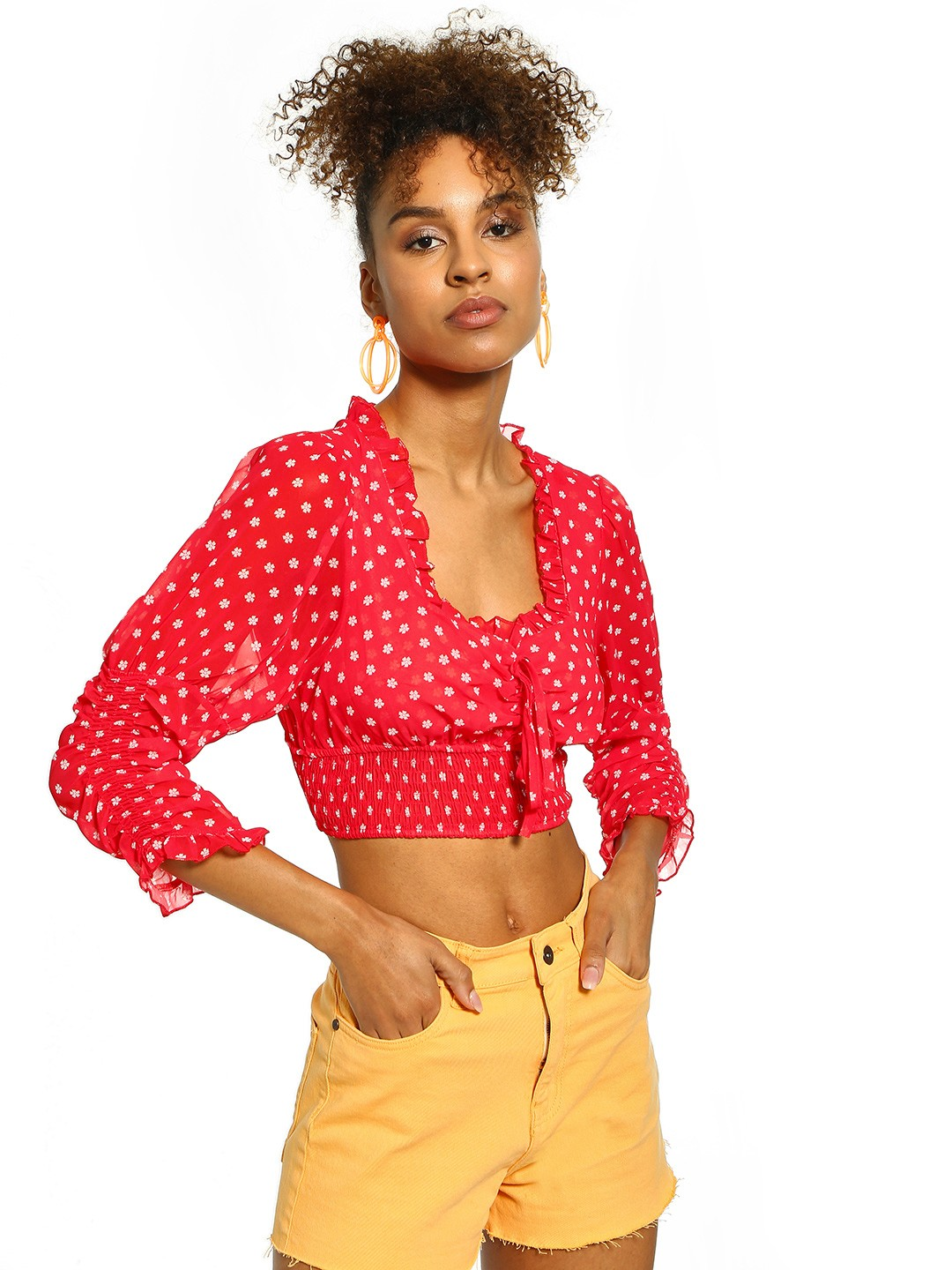 Origami Lily Red Floral Print Ruched Crop Top 1