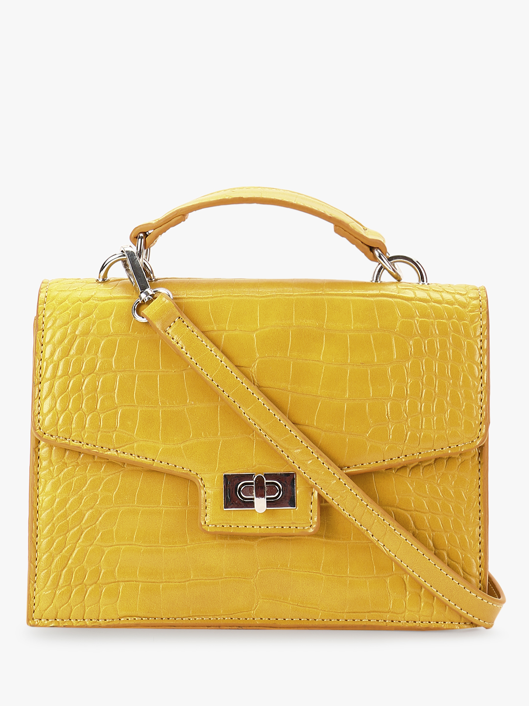 Cover Story Yellow Crocskin Texture Sling Bag 1
