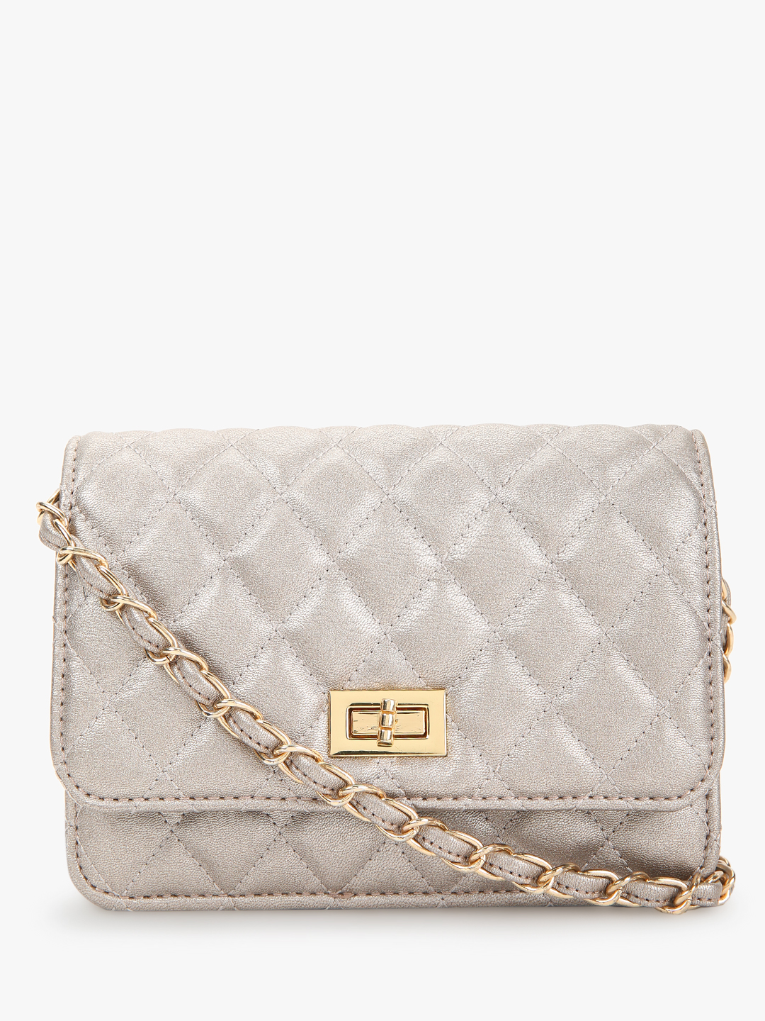 Cover Story Silver Metallic Quilted Sling Bag 1