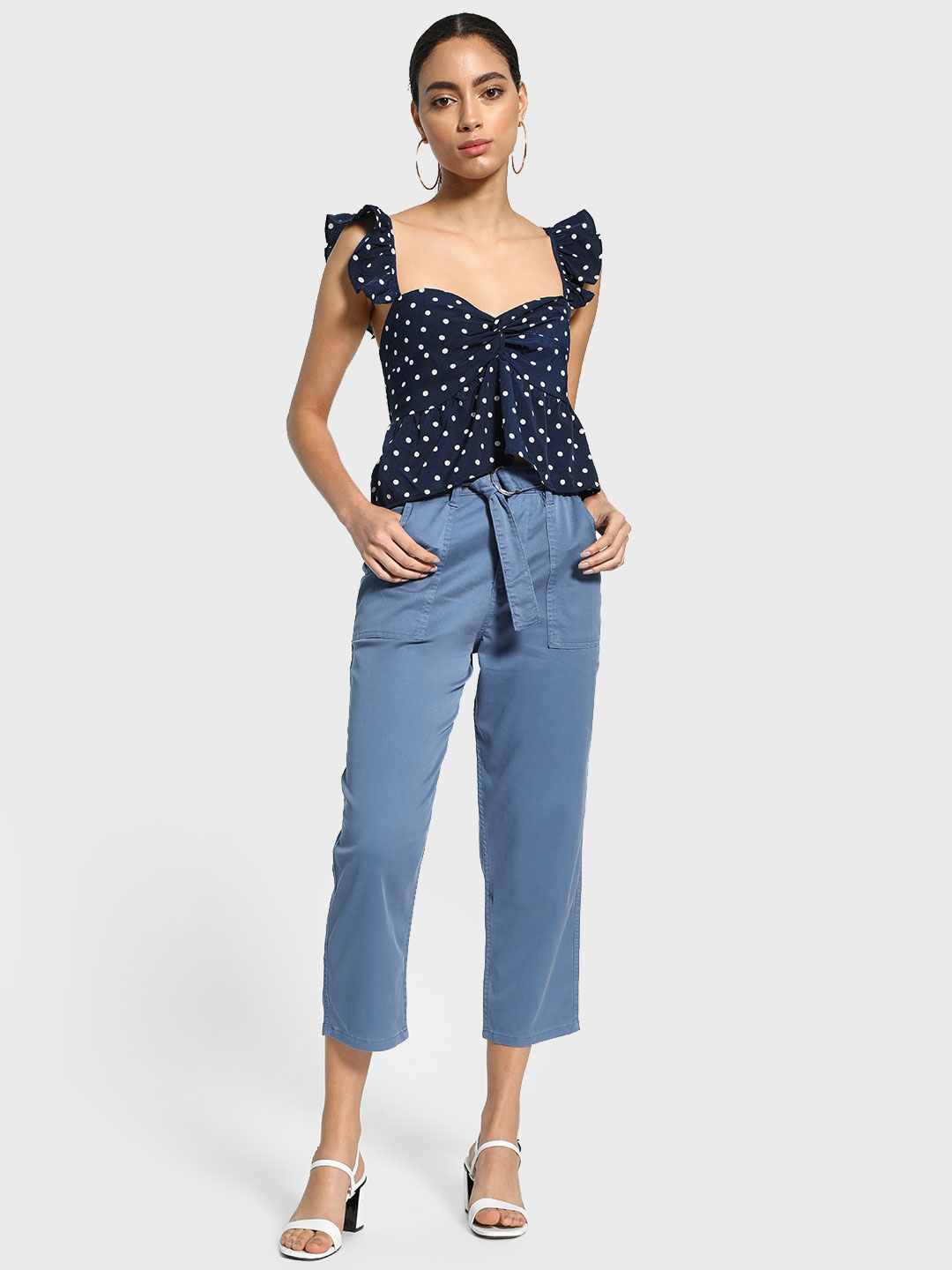 Blue Saint Blue Belted Waist Cropped Trousers 1