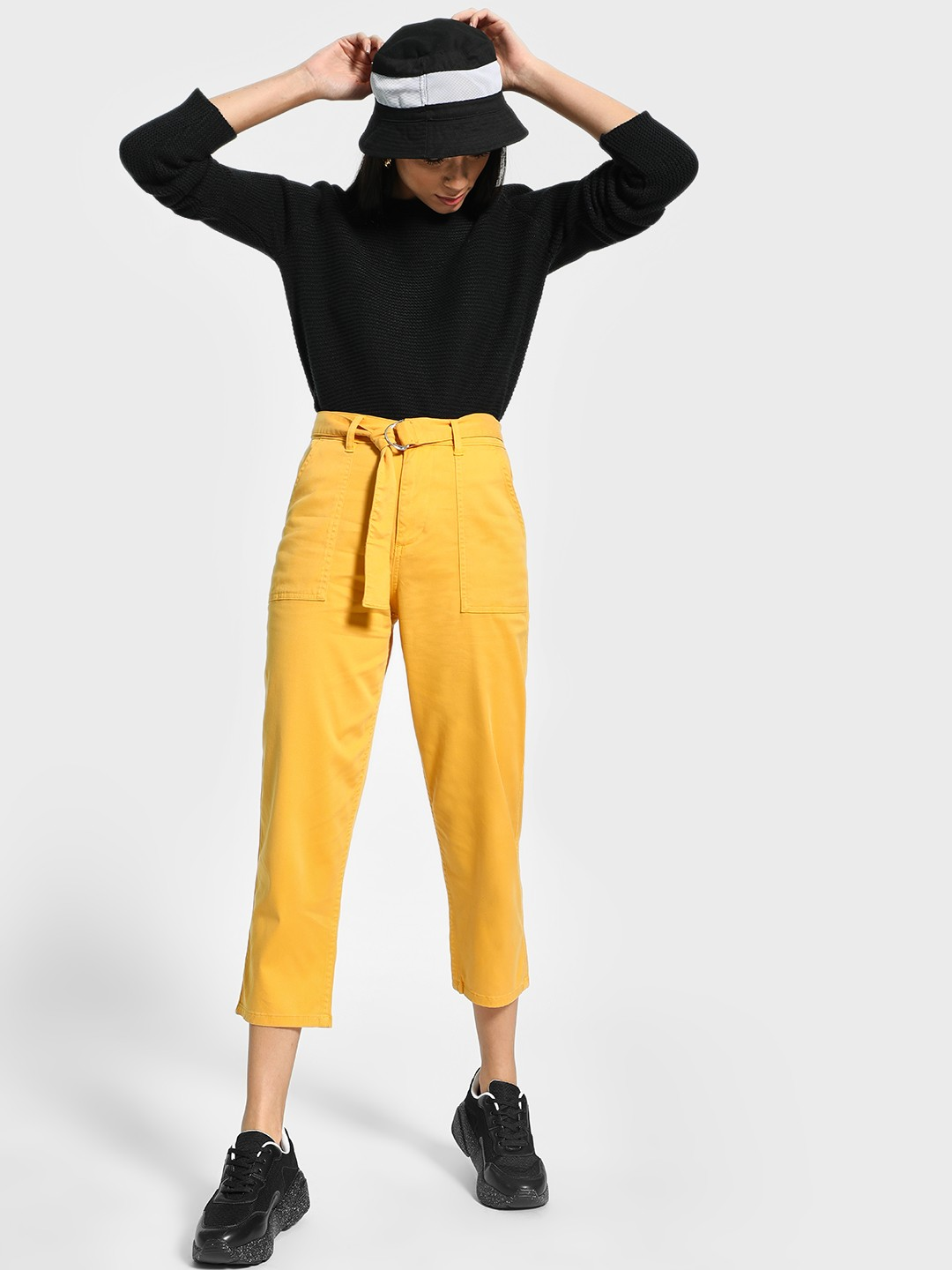Blue Saint Yellow Belted Waist Cropped Trousers 1