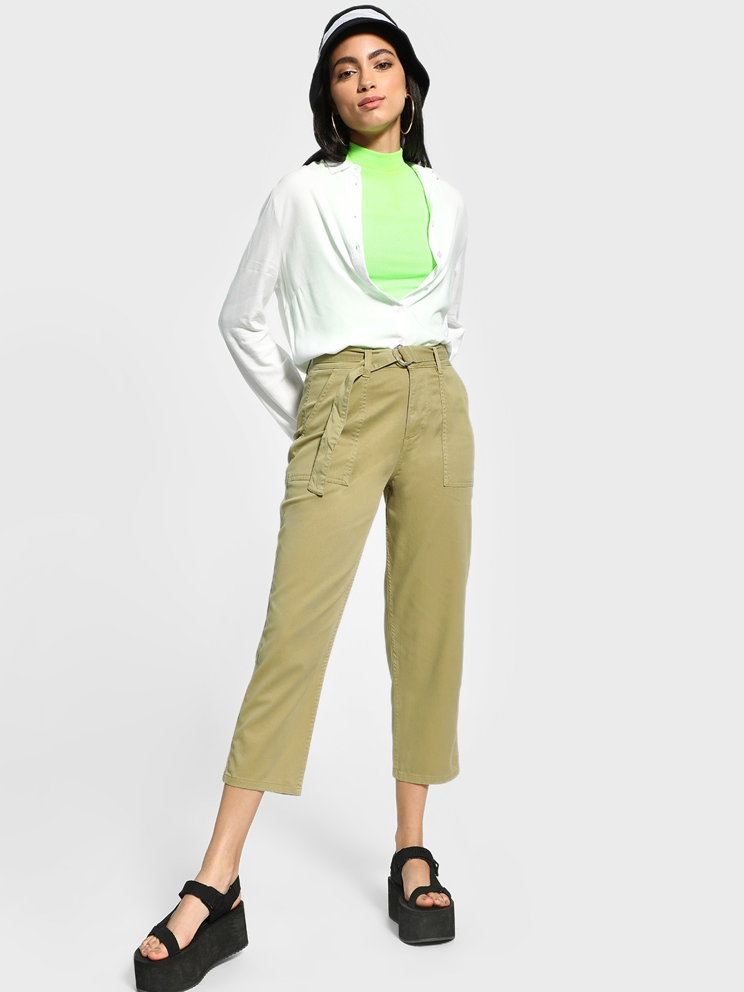 Blue Saint Olive Belted Waist Cropped Trousers 1
