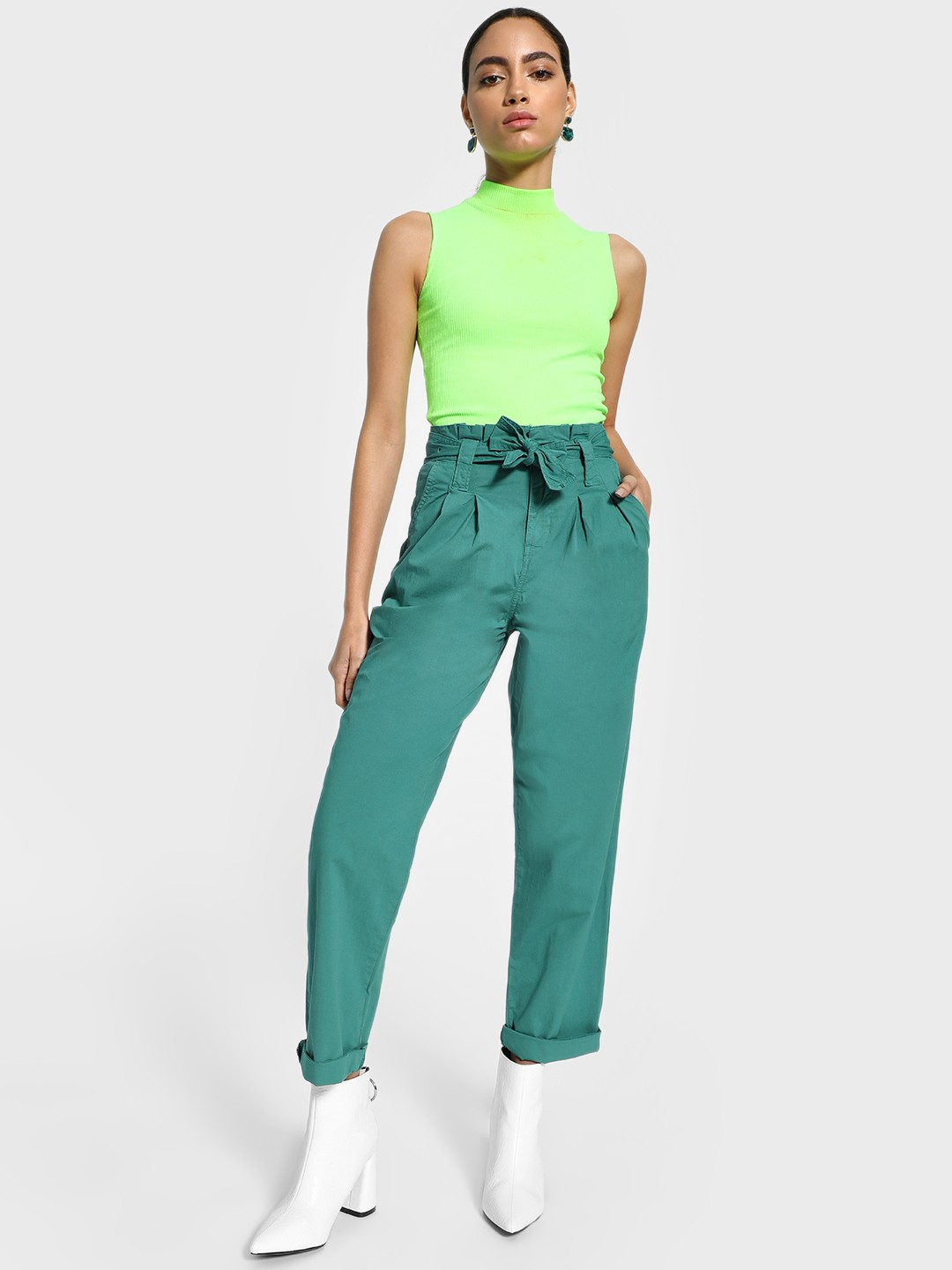 Blue Saint Green Paperbag Waist Belted Trousers 1