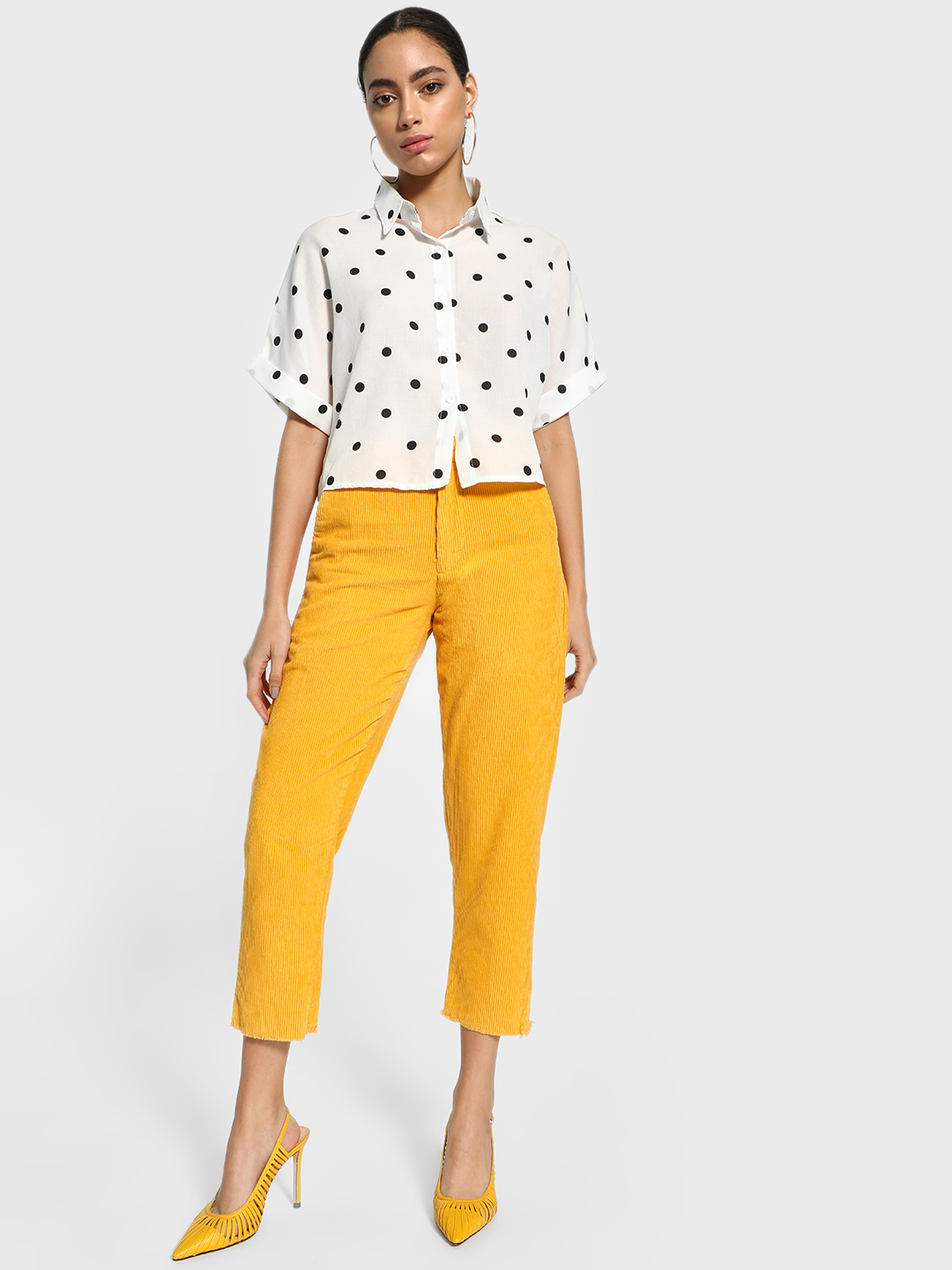 Blue Saint Yellow Corduroy Straight Cropped Trousers 1