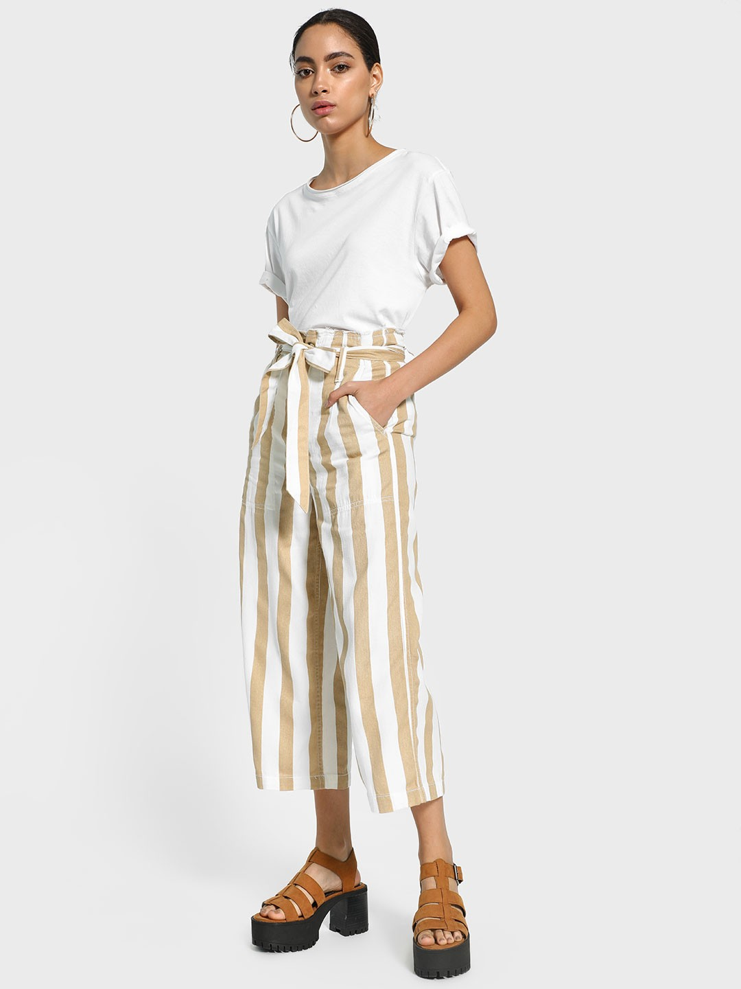 Blue Saint Multi Vertical Stripe Belted Cropped Trousers 1