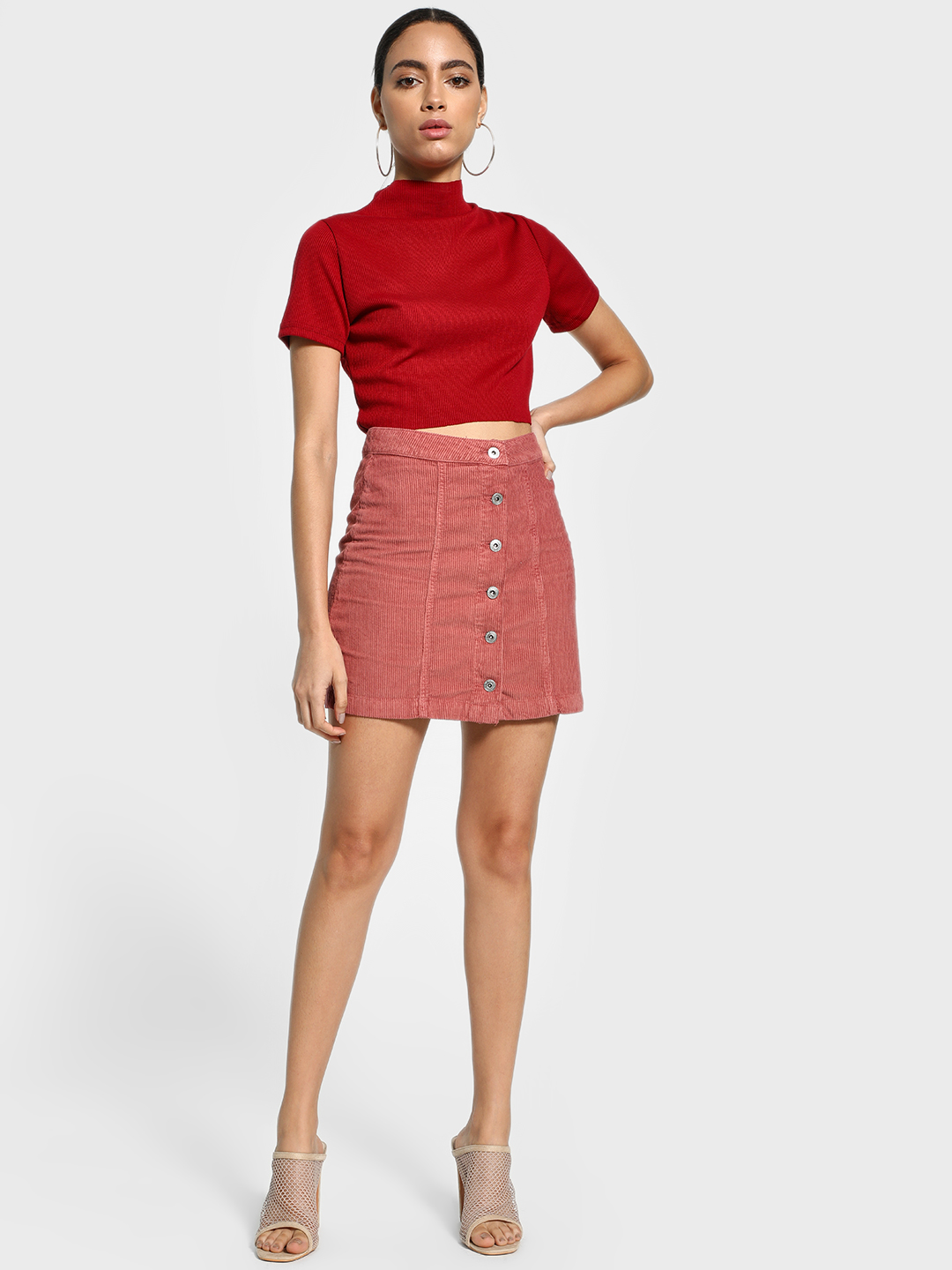 Blue Saint Pink Button-Front Corduroy Mini Skirt 1