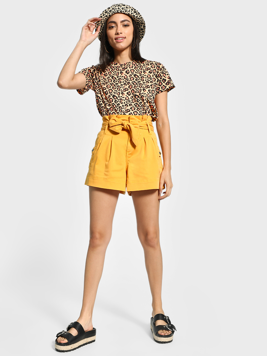 Blue Saint Yellow Paperbag Waist Belted Shorts 1