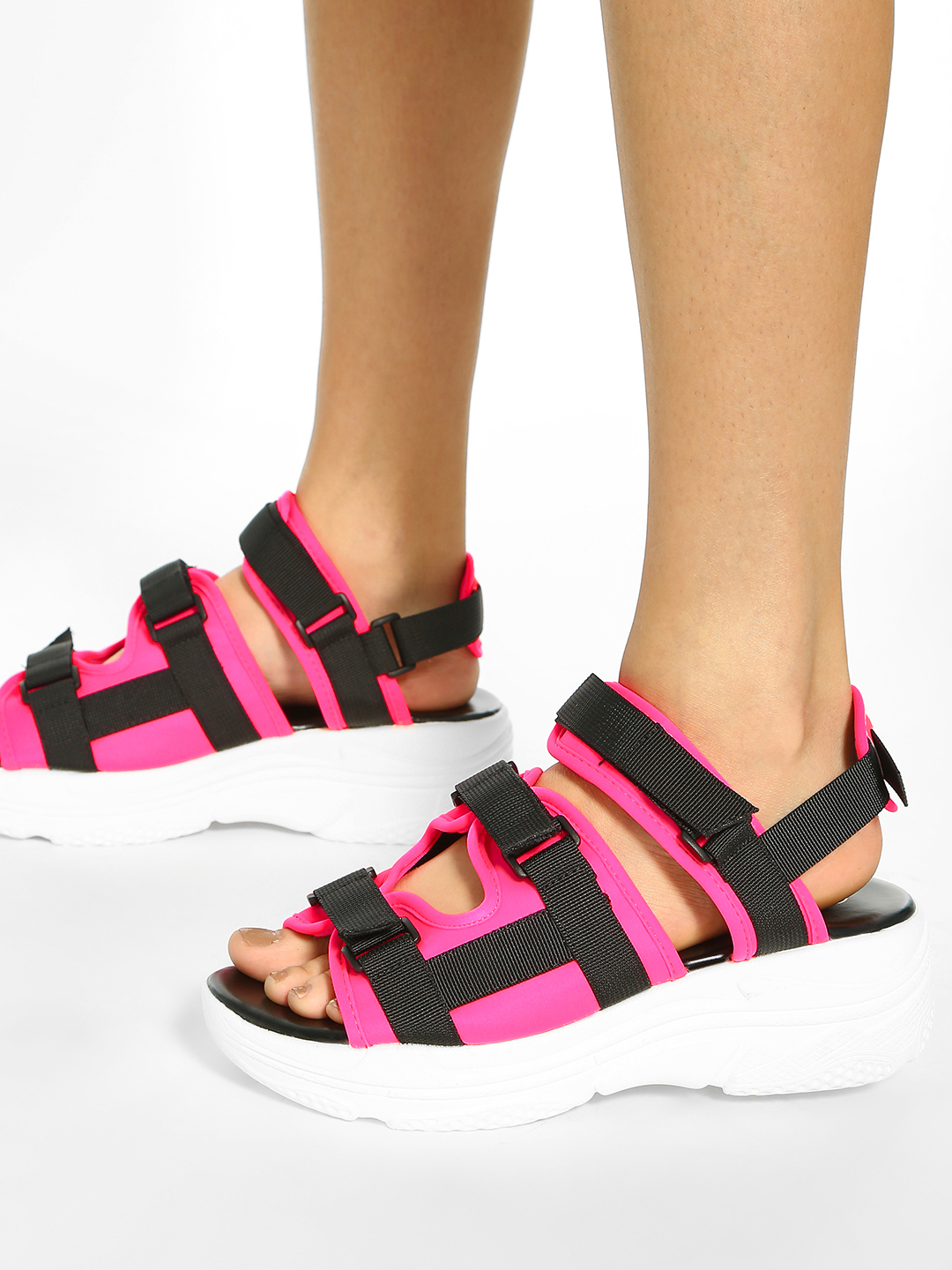 KOOVS Pink/Black Buckle Strap Chunky Sole Sandals 1