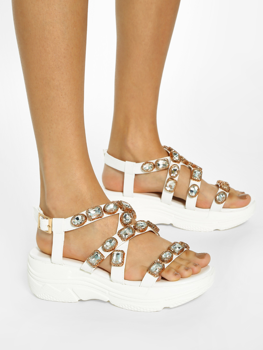 KOOVS White Diamante Embellished Strap Heeled Sandals 1