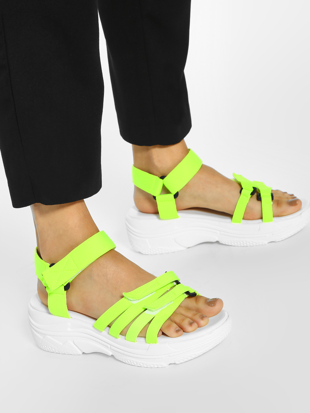 KOOVS LIME Contrast Strap Chunky Sole Sandals 1