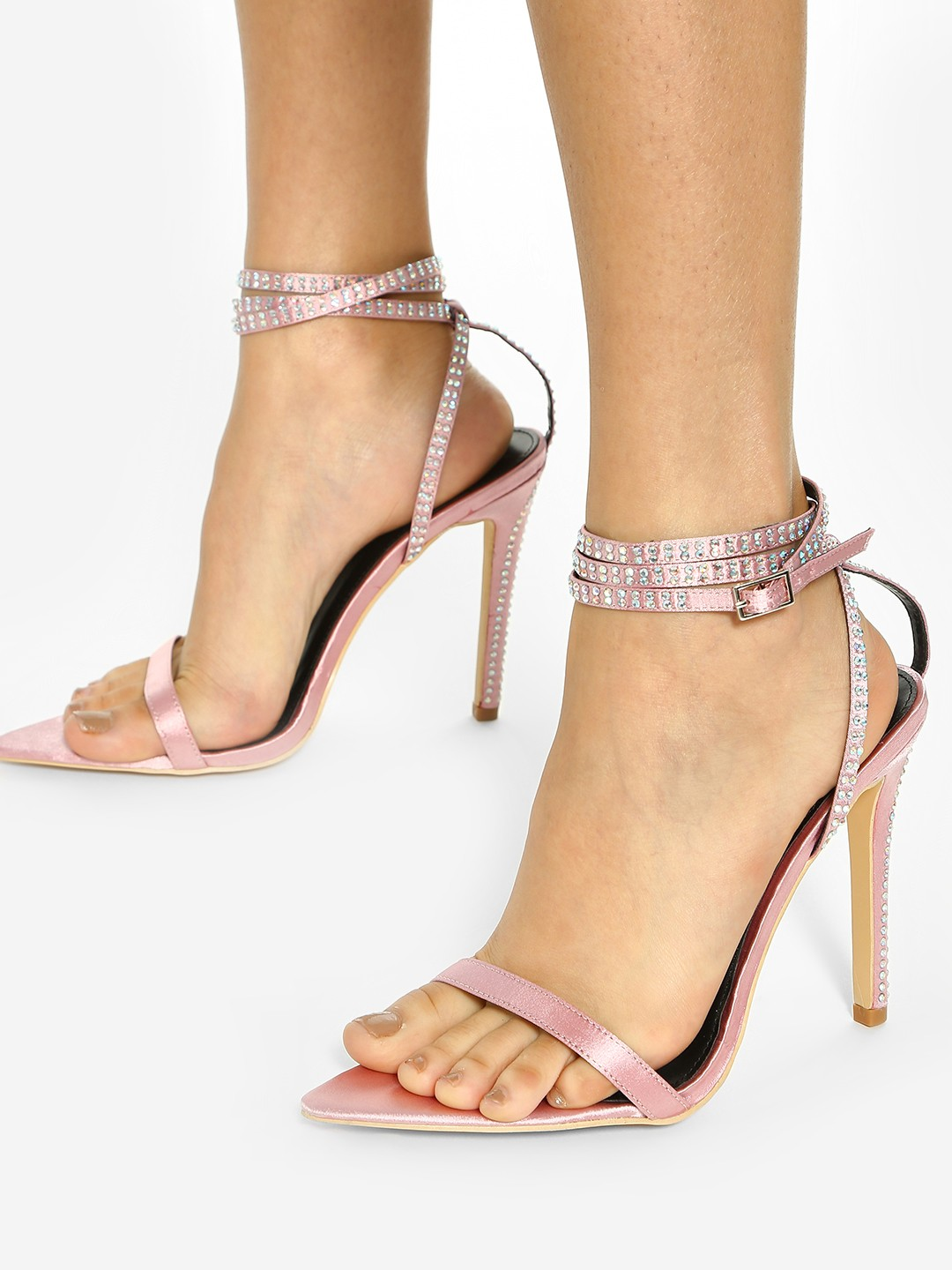 KOOVS Pink Diamante Embellished Strap Heeled Sandals 1