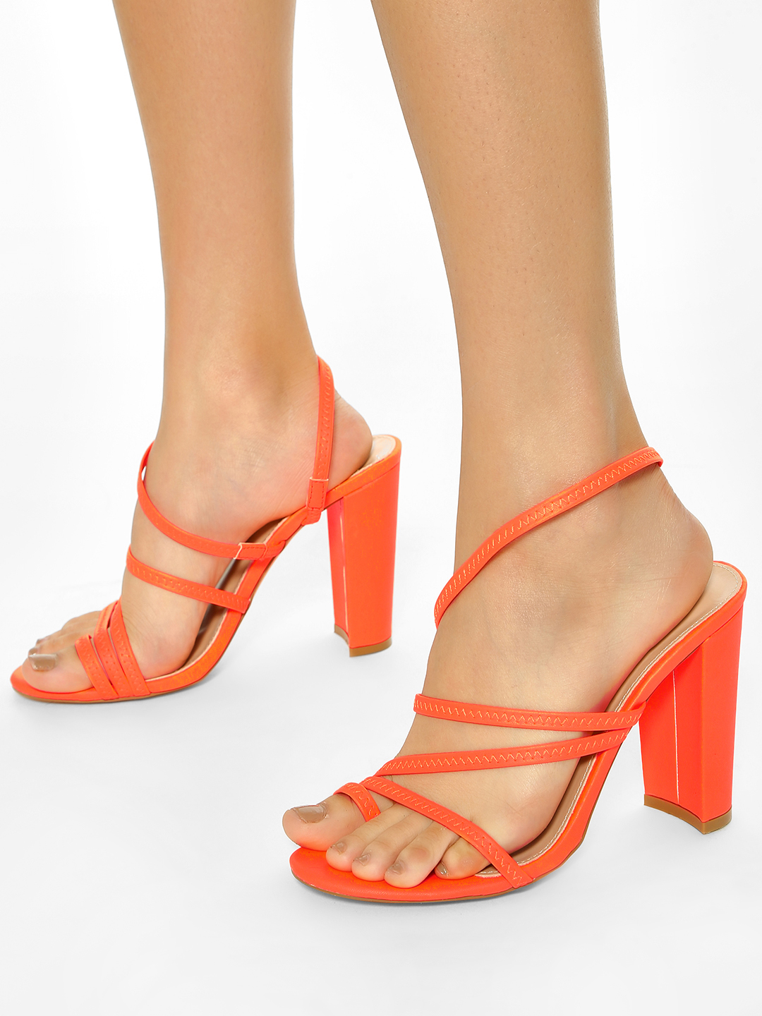 KOOVS Orange Slingback Strap Heeled Sandals 1