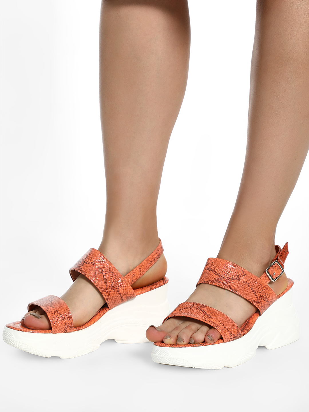 KOOVS Orange Textured Strap Chunky Sole Sandals 1