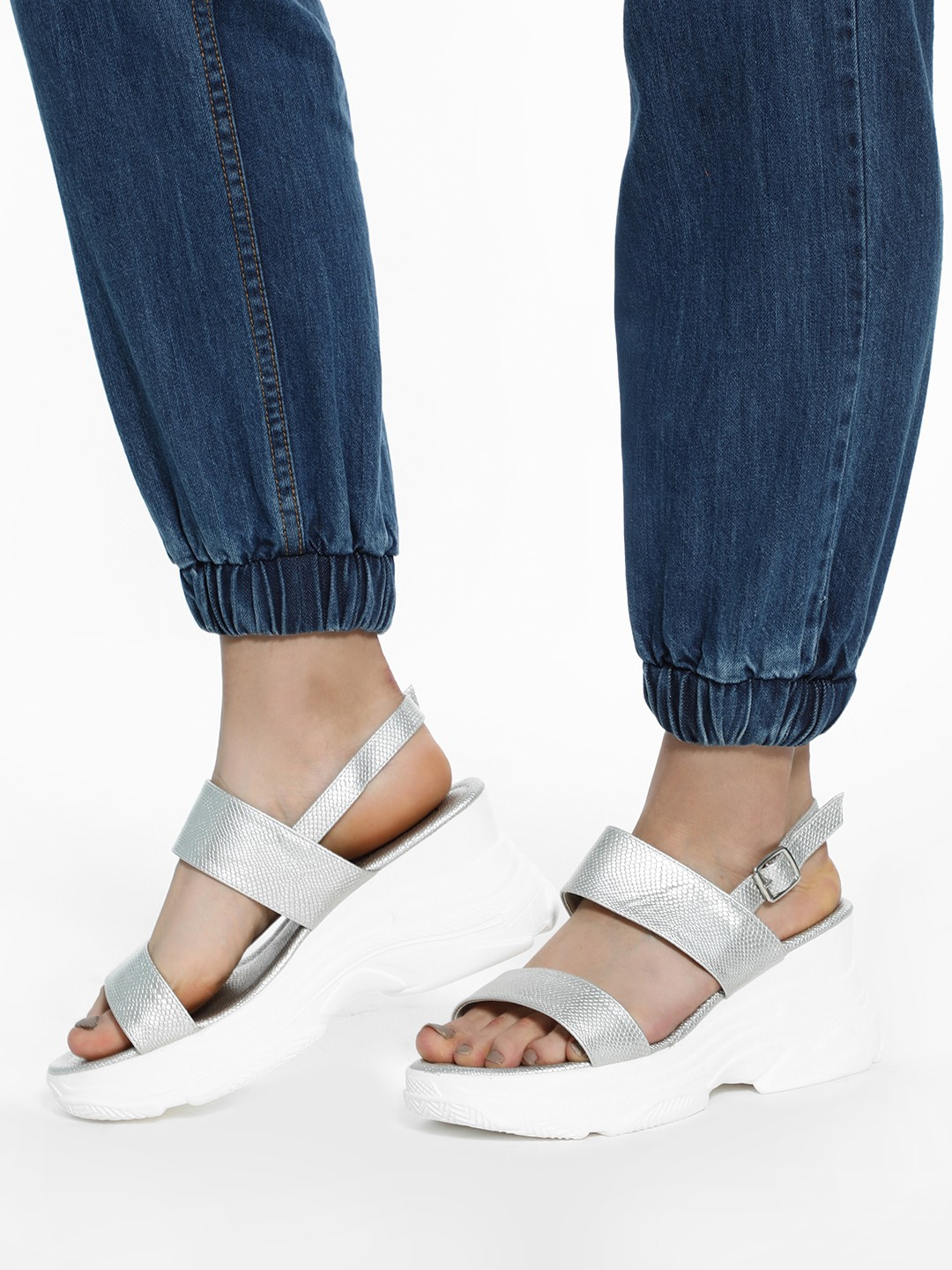 KOOVS Silver Textured Strap Chunky Sole Sandals 1